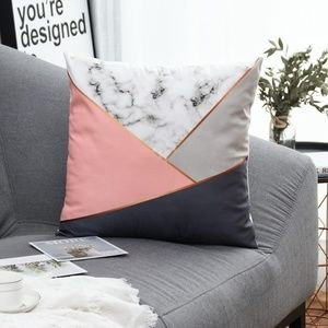 Other - 🚨NEW LIST! Pink Gray Marble Zipper Pillow Cover